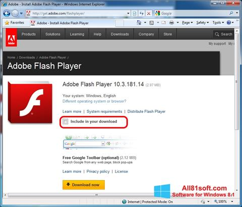 截圖 Adobe Flash Player Windows 8.1